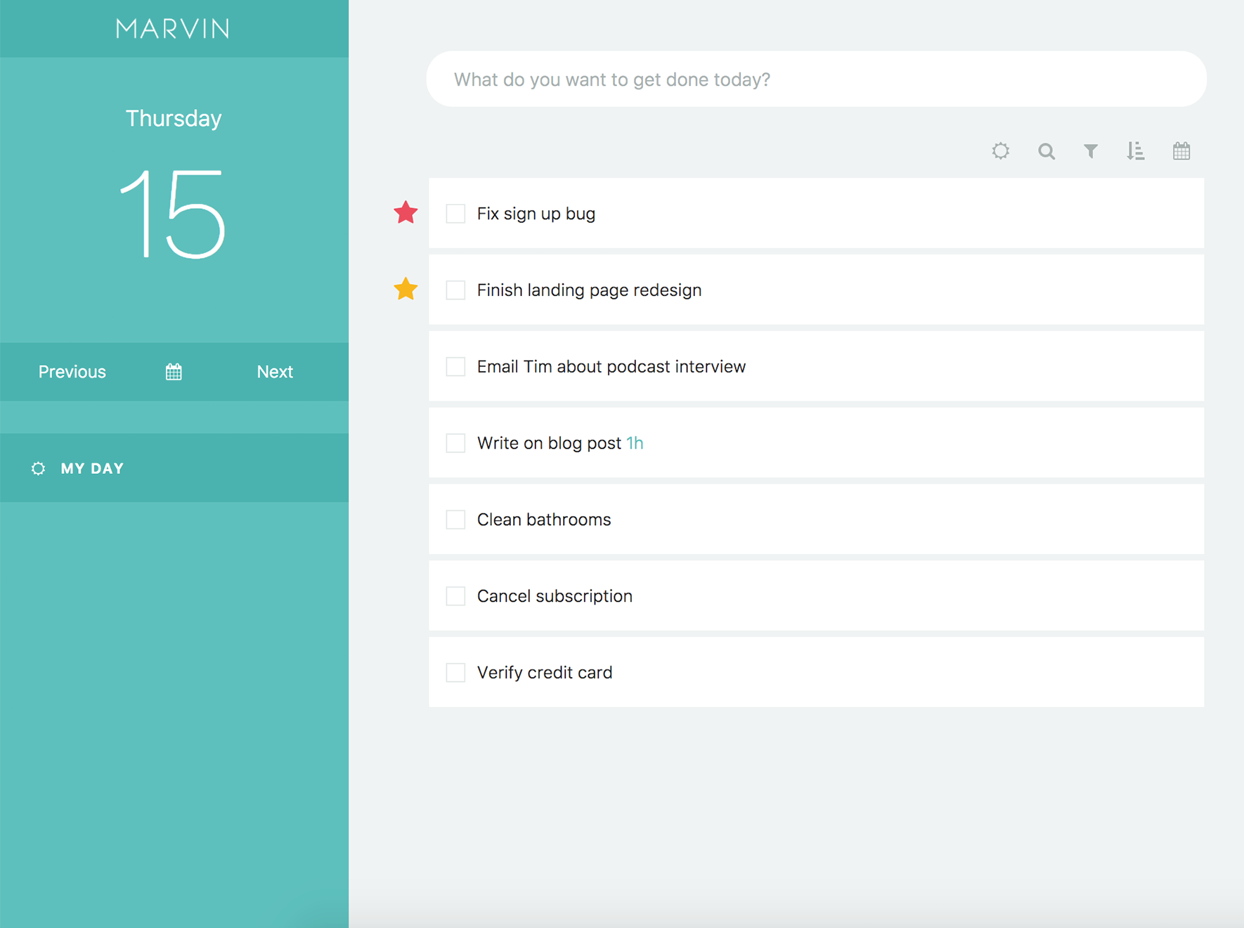 Day Planner Amazing Marvin todo app